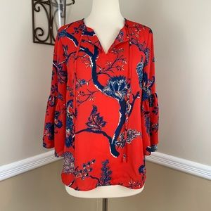 Violet Claire Floral Print Bell Sleeve Blouse Top